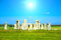 Stonehenge. Historical monument in England. UK, during a warm summer day with a blue sky Royalty Free Stock Photo