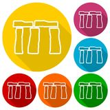 Stonehenge Icons set with long shadow. Vector icon Stock Image