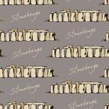 Stonehenge illustration pattern, seamless doodle background Stock Photo