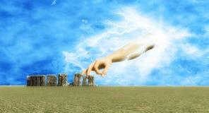 Stonehenge and god Stock Photo