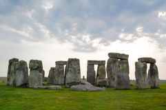 Stonehenge. Landscape with clouds on a gloomy day Stock Photography