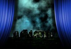 Stonehenge landscape and curtains Royalty Free Stock Photos