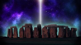 Stonehenge in light. ! Planet, stars and beautiful colours! Test your imagination stock photos