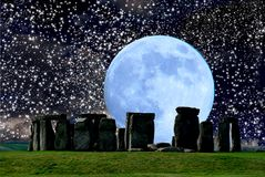 Stonehenge is a megalithic Crómlech monument. Officially dated late Neolithic, located near Amesbury, in the county of Wiltshire, England, about fifteen royalty free stock images