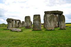 Stonehenge monoliths on a bright day. The stone monoliths from the neolitic era located in Wiltshire, UK stock photo