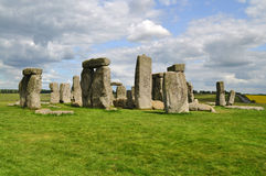 Stonehenge monoliths and clouds. The stone monoliths from the neolitic era located in Wiltshire, UK stock photo