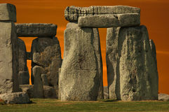 Stonehenge monument at sunset Stock Photos