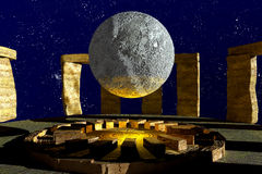 Stonehenge moon Royalty Free Stock Photography