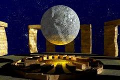 Stonehenge moon Royalty Free Stock Photography