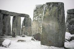 Stonehenge nella neve fotografia stock libera da diritti