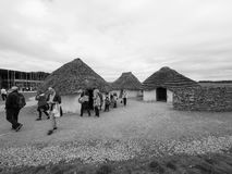 Stonehenge neolithic houses in Amesbury in black and white Royalty Free Stock Images
