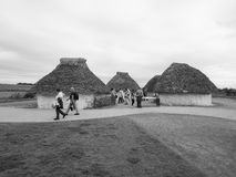 Stonehenge neolithic houses in Amesbury in black and white Royalty Free Stock Photos