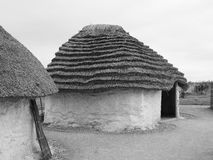 Stonehenge neolithic houses in Amesbury in black and white Stock Photos