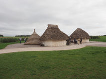 Stonehenge neolithic houses in Amesbury Stock Photos