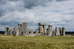 Stonehenge with no visitors. Magnificent Stonehenge in England with cloudy sky Royalty Free Stock Images