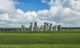 Stonehenge. Panoramic view. Prehistoric stone monument near Salisbury, Wiltshire, UK. in England. stock photo