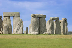 Stonehenge Pillars. Under a blue sky with green grass Royalty Free Stock Images