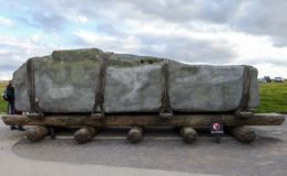Stonehenge prehistoric monument, Exhibition - Stonehenge, Salisbury, England. UK royalty free stock photos
