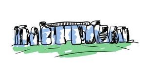 Stonehenge prehistoric monument hand drawn icon. Stonehenge prehistoric monument hand drawn isolated icon. English culture element, patriotic vector illustration Stock Photography