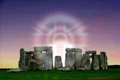 Stonehenge prehistoric monument and the Union Jack royalty free stock image