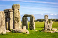 Stonehenge in England. Stonehenge is a prehistoric monument in Wiltshire in England. It consists of a ring of standing stones stock images