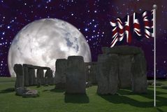 Stonehenge with the Union Jack 2 royalty free stock photography