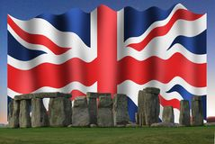 The Union Jack in Stonehenge stock photo