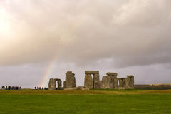 Stonehenge and a rainbow, England Royalty Free Stock Images