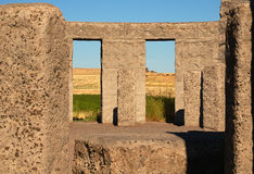 Stonehenge Replica. Inside walls of a Eastern Washington State war memorial that is a replica of Stonehenge Stock Image