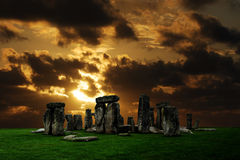 Stonehenge ruins. Stonehenge large panorama at sunset, United Kingdom Stock Image