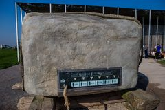 Stonehenge Sarsen stone. Challenge for visitors of the park royalty free stock image