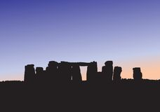 Stonehenge Silhouette. Illustration of the historical Stonehenge with the sun setting behind it Royalty Free Stock Photos