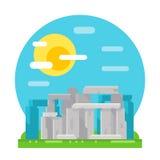 Stonehenge site flat design landmark. Illustration vector Royalty Free Stock Image