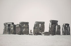 Stonehenge in the snow. Monolithic monument Royalty Free Stock Photos