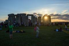Stonehenge sommarsolstånd 2018 royaltyfri bild