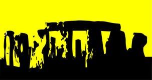 Stonehenge. The stones of Stonehenge in England isolated on a yellow background Stock Photo