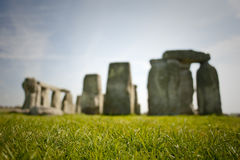 Stonehenge on a sunny day. Blurred Stonehenge from the grass on a sunny day royalty free stock image