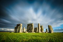 Stonehenge on a sunny and windy winter day. Amesbury, England stock photography