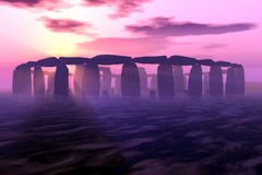 Stonehenge Sunrise. Stonehenge in 3D digital rendering Stock Photos