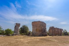 Stonehenge of Thailand. Mor Hin khao at Chaiyaphum province Thailand royalty free stock photos