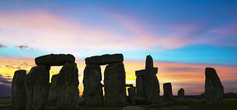 Stonehenge U.K. Picture of Stonehenge in U.K. against a colorful sky Stock Photos