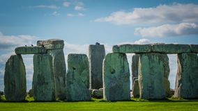 Stonehenge UNESCO Heritage in the UK close up photo. Stonehenge unesco world heritage site on sunny day, Salisbury in England. Summer holidays destination in the stock images