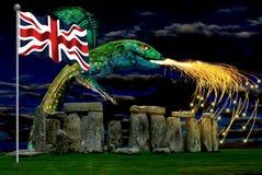 Stonehenge Union Jack e Grago fotografia stock