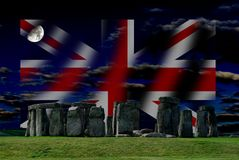 Stonehenge and Union Jack is the flag of the United Kingdom, not of England. stock photos