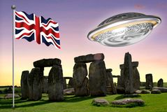 Stonehenge with the Union Jack with a flying saucer 2. Stonehenge is a prehistoric monument in Wiltshire, England, 2 miles 3 km west of Amesbury. It consists of Stock Photography