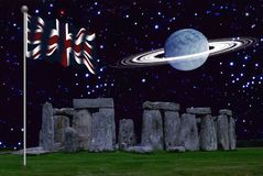Stonehenge with the Union Jack with A planet with ring stock photos