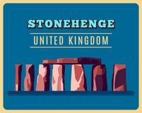 Stonehenge vintage poster. Vector illustration. For prehistoric religious landmark architecture. Ancient monument rock. Heritage England UK tourism. United Royalty Free Stock Photo