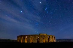 Stonehenge War Memorial at Maryhill at night with stars. And Orion constellation stock photography