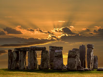 Stonehenge - Wiltshire - England. Stonehenge on Salsbury Plain in Wiltshire in South West England. Built about 3000BC Stonehenge is Europes most famous Royalty Free Stock Photos