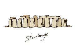 Stonehenge in Wiltshire, England  color illustration Royalty Free Stock Image
